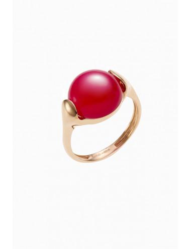 Sortija de oro rosa con piedra carneola roja