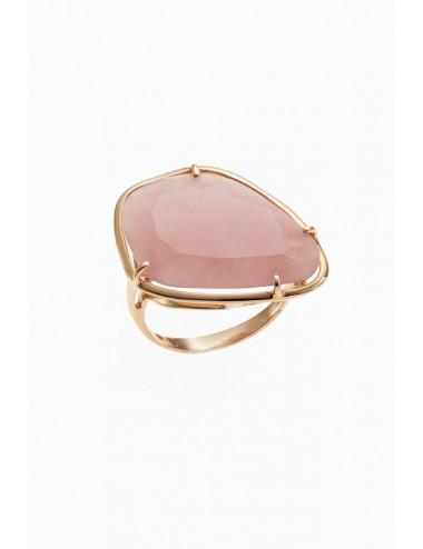 Sortija de oro rosa piedra de cuarzo rosa