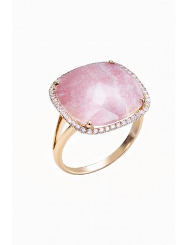 Sortija de oro rosa con diamantes y rodocrosita