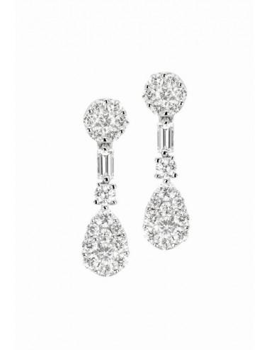 Pendientes de oro blanco con diamantes engaste invisible