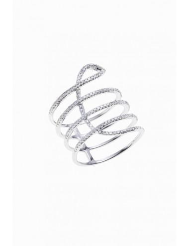 Srotija de oro blanco con diamantes dise¤o espiral