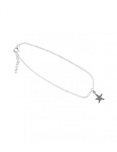 Tobillera Plata Estrella de Mar 22+2