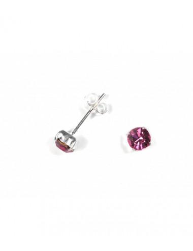 Pendientes Brillante 5mm Engarzado Rosa