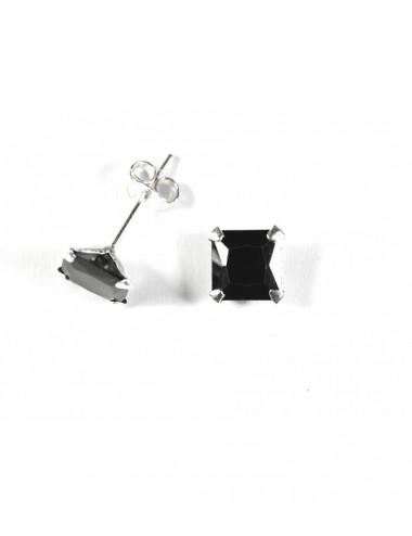 Pendientes Brillante 7mm Cuadrado Negro