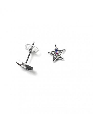 Pendientes estrella de plata rodiada con circonitas de colores